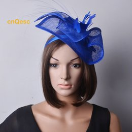 50c134d861d Royal blue fascinatoR online shopping - Royal blue Sinamay Fascinator  Feather Flower for Wedding party mother
