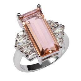 morganite crystal 2019 - Factory prHuge Morganite With Multi White Crystal Zircon 925 Sterling Silver Ring For Women Size 6 7 8 9 10 11 F1465 che