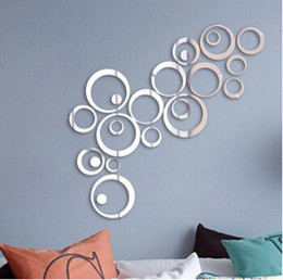 Discount decoration wall stickers circles - Acrylic Mirror Circles Sticker 3D Wall Stickers Creative Removable DIY Circular Ring Decal TV Background Bedroom Living