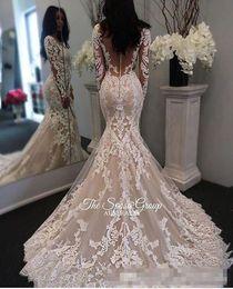 $enCountryForm.capitalKeyWord Canada - Vintage applique Long Sleeves Wedding Dresses Covered Buttons Back See Through Court Train Mermaid Bridal Party Gowns Vestidos De Novia