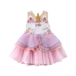 size 2t tutu UK - Baby Girls 3D Unicorn Beading Floral Mesh Lace Tutu Sleeveless Dresses Princess Kids Cosplay Flower Party Dress Size 1-6T