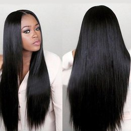Discount wire wigs - Brazilian Straight Long Wigs Hair Wigs for Black Women Medium Cap Inlet high temperature wire Wigs Medium Brown