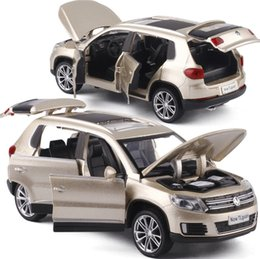 Discount car toys open doors - High simulation 1:32 Tiguan SUV Alloy Pull Back Toy Car Model Musical Flashing Six Open The Doors Diecast Metal For Kids