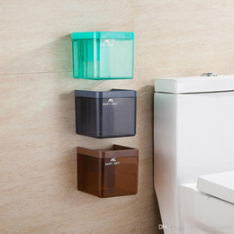 Toilet Paper Roll Holder Plastic Australia - Tissue Box Plastic Wall Drawer Type Toilet Tissue Holder Bathroom Kitchen Organizer Box Tissue Paper Roll Cover with Sucker