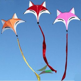 Animal Parts NZ - 90cmx300cm Fox Kite Kite Flying for Outdoor Beach Fun Sports Kites High Quality Umbrella Carbon Rod Animal Kite Kids Best Gifts