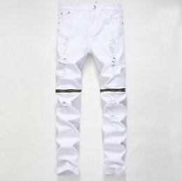 Red fly clothing online shopping - High Quality Brand Clothing Designer Pants Destroyed Mens Slim Denim Shorts Straight Biker Skinny Jeans Men Hip Hop Ripped Jeans