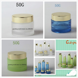 gold cream jars 2018 - 50G blue frosted white green glass jar bottle shiny gold lid for essence eye cream day cream moisturizer gel cosmetic pa
