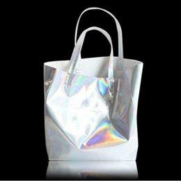 Discount harajuku cell phone - SUNNY BEACH Hologram Laser Shoulder Bag Women Silver Female Harajuku Big Tote Girl Handbags Bolsas Lady Bag Big Size Tot