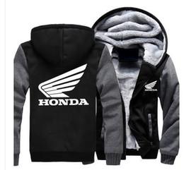 Venta al por mayor de Sudaderas con capucha de invierno Logotipo de la motocicleta honda Rojo blanco Estampado Espesar Hombres mujeres Ropa cálida de otoño sudaderas Cremallera chaqueta con capucha de lana