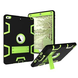 Discount wholesale printing ipad covers - 20pcs 3 in 1 Hybrid Case Heavy Duty Shockproof Cover for Apple New iPad 9.7 2017 2018 Universal Tablet Silicone+PC Back