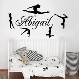 Discount cartoon girl names - Personalized Name & Gymnasts Vinyl Wall Decals Custom Girls Name Gymnastics Dance Home Decor Wall Stickers Mural Poster