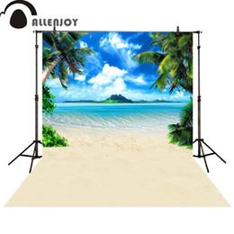 backdrop fantasy 2019 - Allenjoy photo backdrops beach Waves coconut tree blue sky cloud photocall photographic photo studio photobooth fantasy