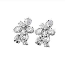 China Christmas Gift Newest Sale Direct Selling Women 925 Sterling Silver Jewelry White Crystal Zircon Gemstone Stud Earring Free Shipping NEW cheap earrings direct selling suppliers
