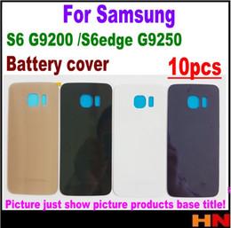 fa407293667 10pcs carcasa trasera de la puerta cubierta de la batería de vidrio con  adhesivo para Samsung Galaxy S6 Edge G9250 G925F contraportada blanco negro  oro azul