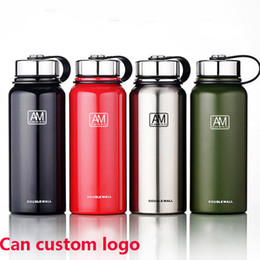 coolest mugs Canada - Stainless Steel Water Bottles Vacuum Insulated And Cool Mug Cup Outdoor Hiking Sport Tumblers Kettle Cup Custom Logo 610 800 1100ML HH7-1387