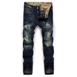 $enCountryForm.capitalKeyWord UK - 2018 fashion hot Men's jeans, broken holes, straight trousers, Europe, nostalgic, washed denim men's trousers free shipping