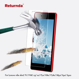 Discount lenovo vibe shot - 0.3mm 9H Tempered glass film For lenovo vibe shot P1 P1M x3 x2 P70 K80 P780 S850 S90 S920 screen protector with Clean To