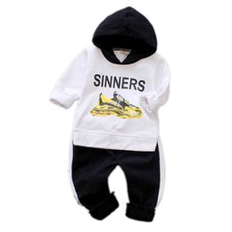 $enCountryForm.capitalKeyWord UK - Spring Autumn Baby Boy Girl Clothing Set High Qulity Cotton Kid Infant Long Sleeve Toddler Clothes Letter Hooded Suit Tracksuits