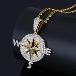 $enCountryForm.capitalKeyWord NZ - Iced Out Compass Pendant Necklace Bling Cubic Zircon Chains High Quality Hip Hop Gold Silver Color Charm Jewelry Gifts