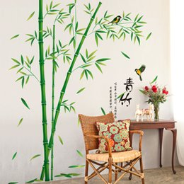 Wholesale Green bamboo vinyl wall stickers DIY plants pattern decoration label for study room Living Room Decoration