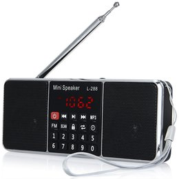 Discount volume control radios - L-288 Mini FM Radio Speaker Portable Loudspeaker Stereo Music Player with TFCard USB Disk LCD Screen Volume Control Wire
