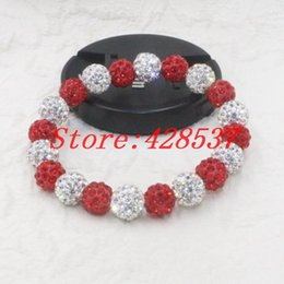 3cfd40b38 Free Shipping Fashion DST Greek Sorority Delta Sigma Theta White Red  Crystal 10mm Shamballa Clay Bead Bangles Bracelets Jewelry
