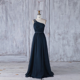 $enCountryForm.capitalKeyWord NZ - One-Shoulder Navy Blue Real Photos Sheath Lace Sheer Straps Chiffon Pleat With Sashes Evening Gowns Floor-Length Sexy Back Evening Dress