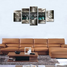 China Framed Modern Cityscape Canvas Painting Abstract Geometric City Night View Wall Art Contemporary City Artwork Wall Decor Ready to Hang cheap modern contemporary multi canvas abstract paintings suppliers