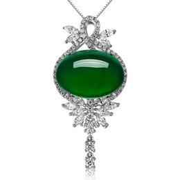 $enCountryForm.capitalKeyWord UK - 2018 New Fashion Jewelry Silver Pendants Green Agate Embellished Charm Female Party Gift Fitting Fine Jewelry Packaging