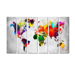 world map prints canvas UK - Large 6 Panel Set Contemporary Modern Canvas Art Water color World Map Poster Printed on Canvas Home Wall Living Room Decoration