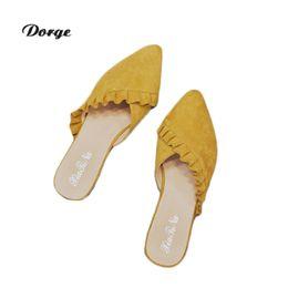 Опт Женские домашние тапочки мех модные кожаные крест указал Лотос лист край плоский каблук сандалии женская обувь вилка и женские летние крытый b