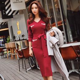c4145987bde5 Dabuwawa Knitted Dress Winter 2018 New V-neck Office Lady Elegant Solid  Slim Sashes Sexy Dress