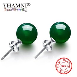 Wholesale YHAMNI Luxury Natural Green Red Crystal Gem Stone Stud Earrings Solid Sliver Wedding Earring Fine Jewelry for Women YE011