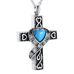 Black gothic cross pendant online shopping - Gothic Cross Cremation Pendant Necklace Crystal Paved Ashes Keepsake Urn Memory Jewelry