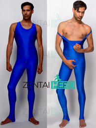 army green bodysuit Canada - Free Shipping NEW Wrestling Royal Blue Color Spandex Male Gymnastics Costume Leotard Tight Bodysuit Sexy Zentai Catsuit MG6949