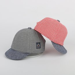 Wholesale NEW Baby Hats For Boys Newborn Summer Cotton Casual Striped Soft Eaves Baseball Infant Baby Caps Baby Accessories Boy Beret