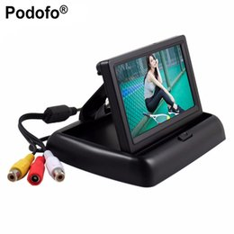 Wholesale Podofo quot HD Foldable Car Rear View Monitor Reversing Color LCD TFT Display Screen for Truck Vehicle Backup Rearview Camera