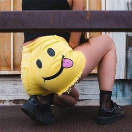 2018 New Summer Fashion Smile Face Print Shorts Jogger Shorts Mujeres Casual Happy Face Print en venta