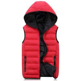 Light cotton vests for men online shopping - New Spring Autumn Sleeveless Jacket for Men Fashion Warm Hooded Male Winter Vest Light Plus Size Mens Work Vests Waistcoat