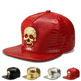 Skull Cap Ball Canada - Tide brand skull crystal designer hats for men women hip hop baseball caps men adjustable PU ball caps men free shipping