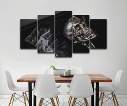 5panels Oil Painting UK - Metallic Skull Spray Oil Painting LARGE 5Panels Giclee Prints Modern Home Decor interior (No Frame)