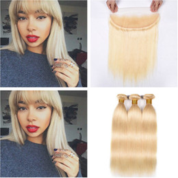 $enCountryForm.capitalKeyWord Australia - Russian Blonde Human Hair 3Bundles with Frontal 4Pcs Lot Straight Pure 613 Blonde Virgin Hair Weaves with 13x4 Full Lace Frontal Closure