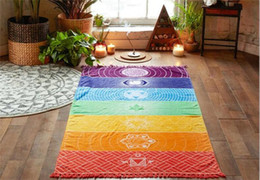 rainbow mat 2019 - 200pcs Bohemia Wall Hanging India Mandala Blanket 7 Chakra Colored Tapestry Rainbow Stripes Travel Boho Beach Towel Yoga