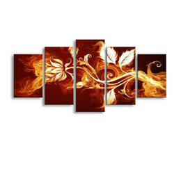 $enCountryForm.capitalKeyWord Australia - 5 pieces high-definition print fire flowers canvas oil painting poster and wall art living room picture PF5-010