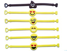 China Pawliss Emoji Bracelets Wristband Birthday Party Favors Supplies for Kids Girls Emoticon Toys Prizes Gifts Rubber Band Bracelet cheap rubber wristbands for kids suppliers