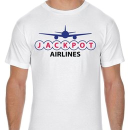shipping airlines UK - Jackpot Airlines Logo Adult T-Shirt Short Sleeves Cotton T Shirt Free Shipping TOP TEE 2018 Newest Letter Print top tee