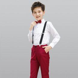 $enCountryForm.capitalKeyWord NZ - 2018 Perfect Suit Baby Children Suits Kids Jacket Children Formal Suit for Wedding Children Clothes White Shirt + Red Pants+Bow+Strap