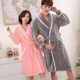 Winter Lovers Adult Coral Bathrobe Letter Women Men Nightgown Dressing  Gowns Warm Bath Robes Home Clothes f32266a58