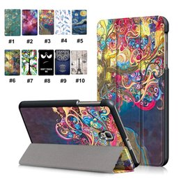 smart tablets Canada - Luxury Colorful Painting Tablet Case Ultra Thin Magnetic Folding Stand PU Leather Protective Tablet Cover for Samsung TAB 8.0 2017 T380 T385