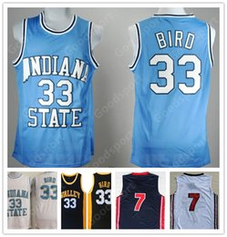 71be3ab9118 HOT INDIANA State College NCAA Stitched 33 Larry Bird Stitched embroidery  Swingman jerseys Jersey SHIRTS cheap sport basketball